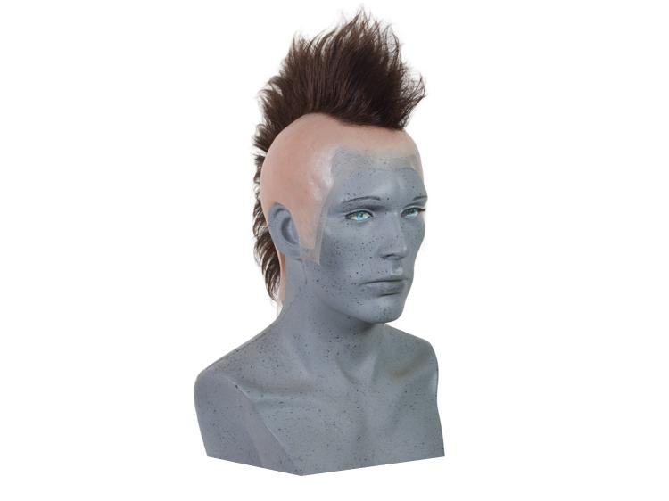ATB Silicone Bald Cap with Mohawk, Synthetic Hair